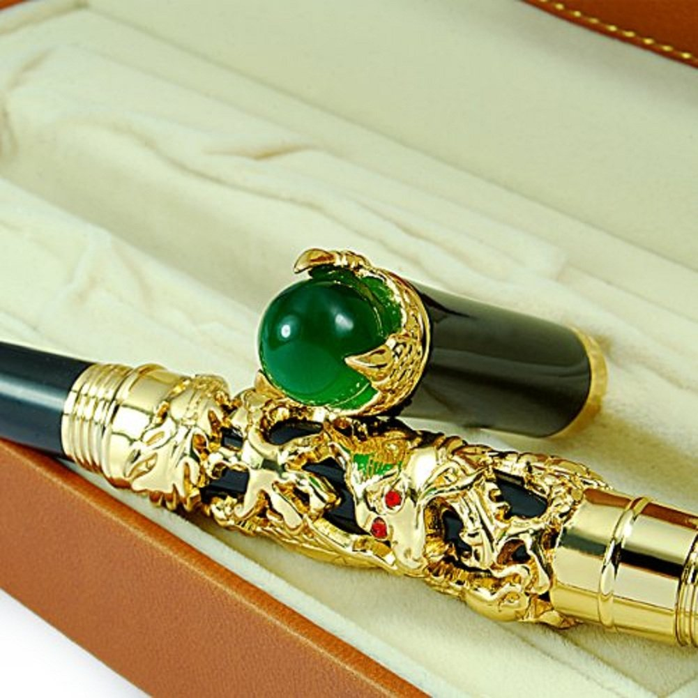 Luxury Golden Chinese Ming Dynasty Emperor Style Dragon Play Jade Ball Fountain Pen Fine Tip 3
