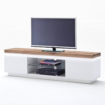 TV Lowboard Romina Möbel Schrank Tisch Matt Lack Weiss Asteiche Massivholzplatte LED Beleuchtung