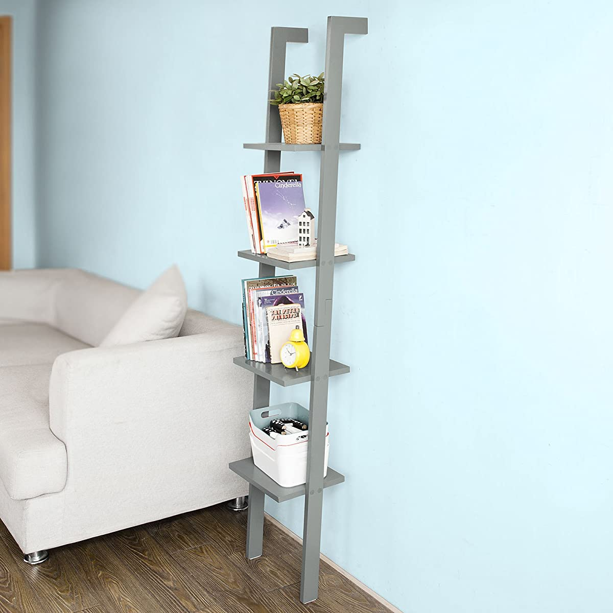 SoBuy Modern ladder bookcase made of wood with four floors,book shelf, stand shelf, wall shelf, 12.99inch x 70.87inch, FRG15-HG