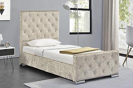 Beaumont gecrushter Samt Stoff 3Ft Single Bett mit Stauraum Gold, Bettlatten Pink oder Silber, Textil, gold, 90 x 190 cm