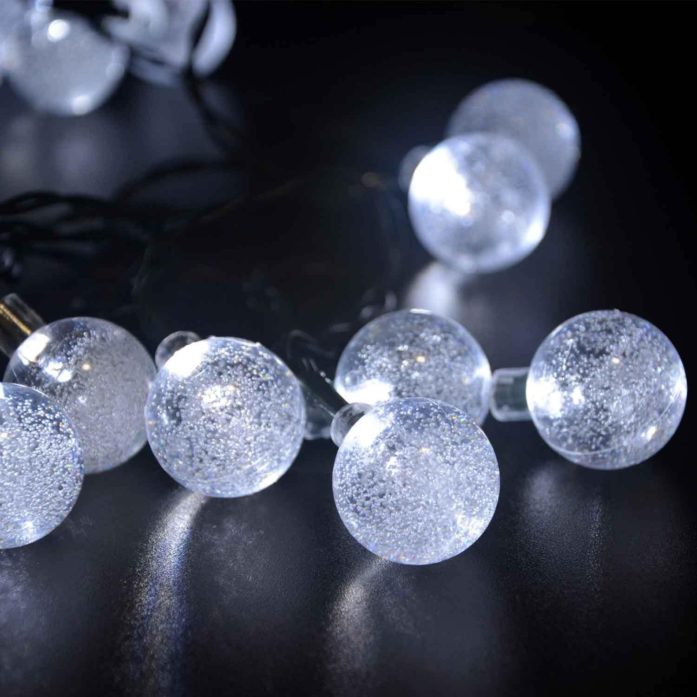 LederTEK Solar Outdoor String Lights 20ft 30 LED White Crystal Ball Solar Pow