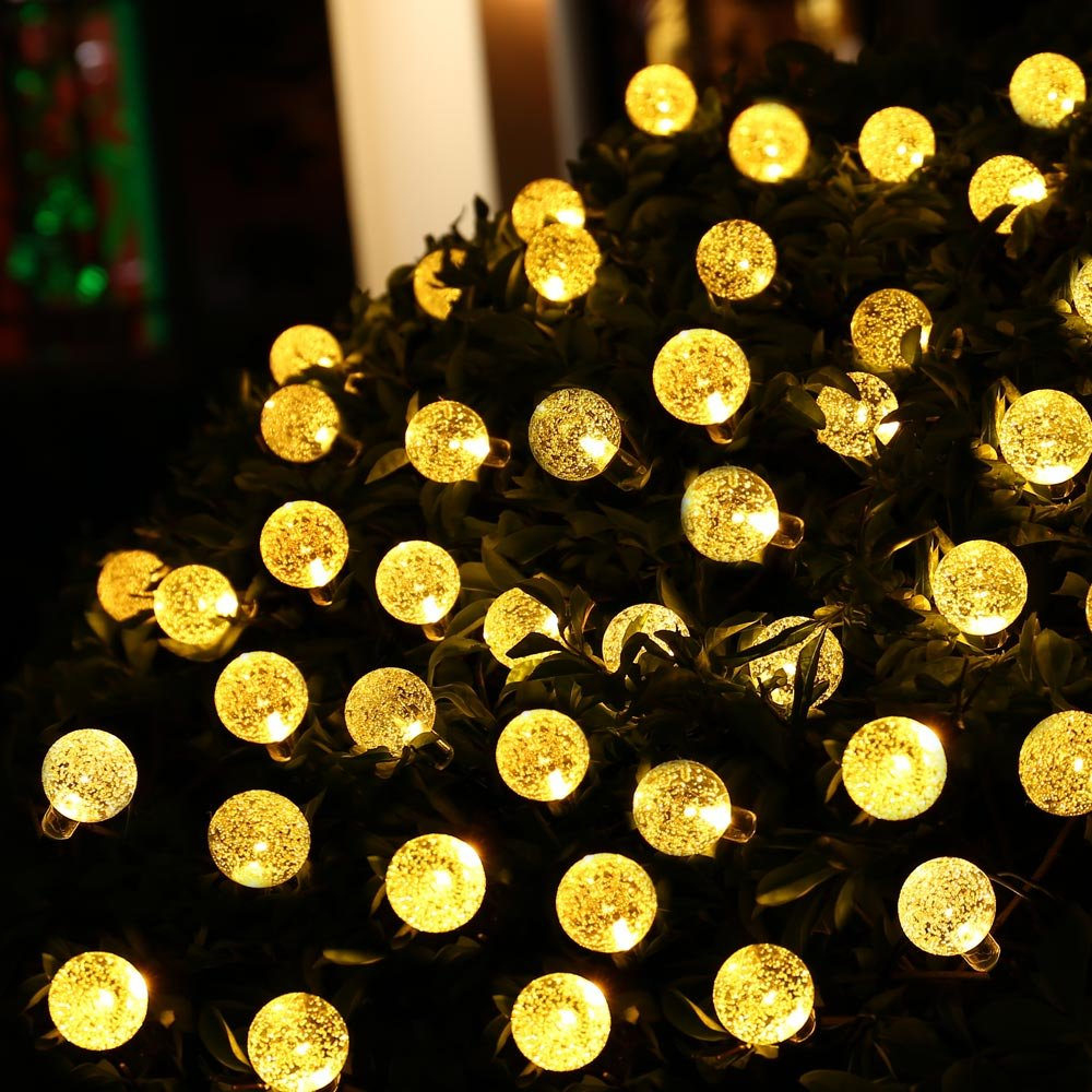 Qedertek Globe Outdoor Solar String Lights 20ft 30 LED Fairy Bubble Crystal Ball Holiday Party Decoration Lights (Warm White)