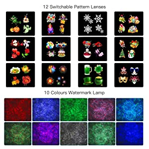 Christmas LED Projector Lights,MOWASS 2 in 1 Ocean Wave Outdoor LED Snowflakes Landscape Light for Christmas, Thanksgiving Decoration,Theme Parties, Landscape or Garden Decoration (Color: Black)