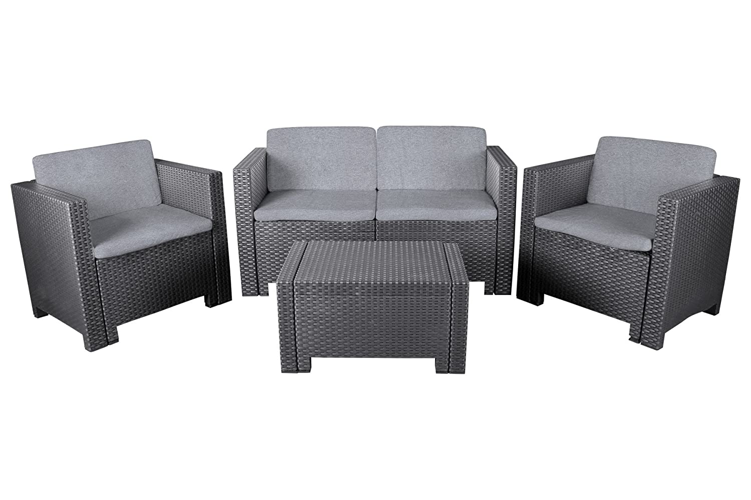 allibert lounge set cannes modische rattanoptik 4 tlg 2 sessel 1 sofa und 1 tisch grau. Black Bedroom Furniture Sets. Home Design Ideas