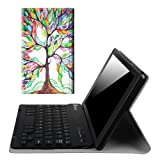 Fintie Blade X1 Keyboard Case for Amazon Fire HD 8 (Previous Generation - 6th) 2016 release, Slim Fit Slim Shell Light Weight Stand with Magnetically Detachable Wireless Bluetooth Keyboard, Love Tree