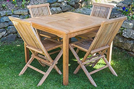 Square Fixed Solid Teak 1m Table and Folding Chair Garden Table and Chair Set