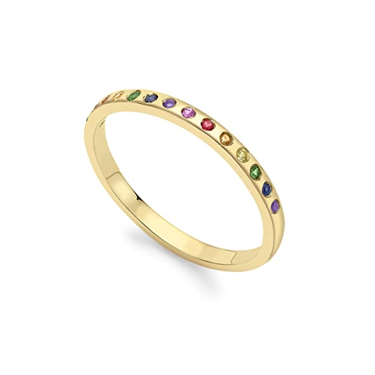 Celine d'Aoust 14 ct Yellow Gold Rainbow Sapphires Flush Setting Ring - Size M
