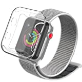YIUES Compatible with Apple Watch Band 38mm 42mm, Soft Breathable Lightweight Nylon Sport Loop Relacement iWatch Band Compatible with Apple Watch Series 3/2/1 (Color: Seashell, Tamaño: 42mm)