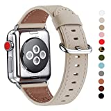 WFEAGL Compatible iWatch Band 38mm 40mm, Top Grain Leather Band for iWatch Series 4,Series 3,Series 2,Series 1,Sport, Edition(38mm 40mm, Ivory White) (Color: Ivory White Band+Silver Buckle, Tamaño: 38mm 40mm)