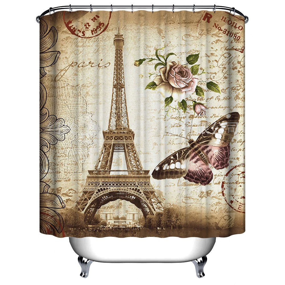 Uphome 72 X 72 Inch Retro Vintage Paris Eiffel Tower Waterproof Kids Bathroom Shower Curtain - Butterfly and Flower Pale Brown Polyester Fabric Bathroom Accessories Home Decoration 1