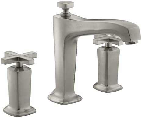 KOHLER K-T16237-3-BN Margaux Deck-Mount High-Flow Bath Faucet Trim with Cross Handles, Valve Not Included, Vibrant Brushed Nickel
