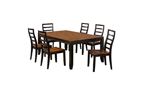 Furniture of America Boardwalk 7-Piece Dining Table Set with 18-Inch Butterfly Leaf, Acacia and Espresso