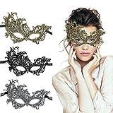 TreatMe Masquerade Mask - 3 Pack Women Venetian Mask Pretty Elegant Lady Lace Masquerade Halloween Mardi Gras Party (Color: Gold+silver+black, Tamaño: Medium)