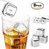 X-Chef Stainless Steel Ice Cubes, Reusable Chilling Stone Ice Cubes for Whiskey, Vodka, Liqueurs, White Wine, Beer Beverages, Pack of 8