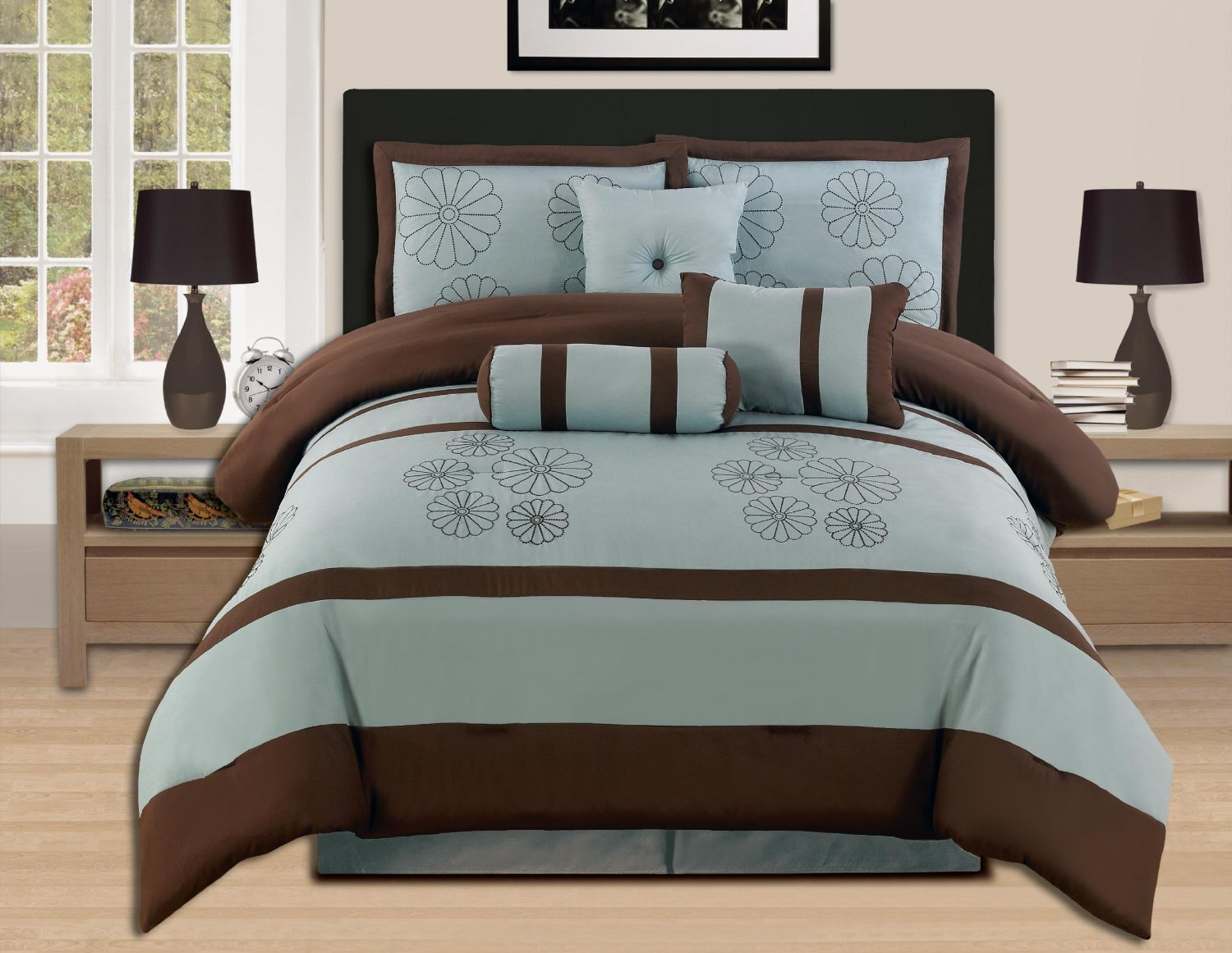 Green and brown bedding - 7 Pieces Luxury Embroidery Comforter Set Bed In A Bag Oversize