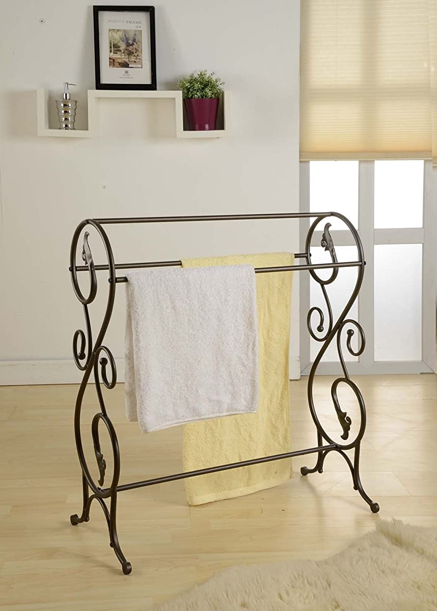 Kings Brand Antique Style Pewter Finish Towel Rack Stand