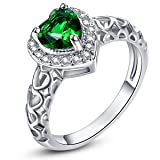 Psiroy 925 Sterling Silver Created Emerald Quartz Filled Halo Heart Promise Ring