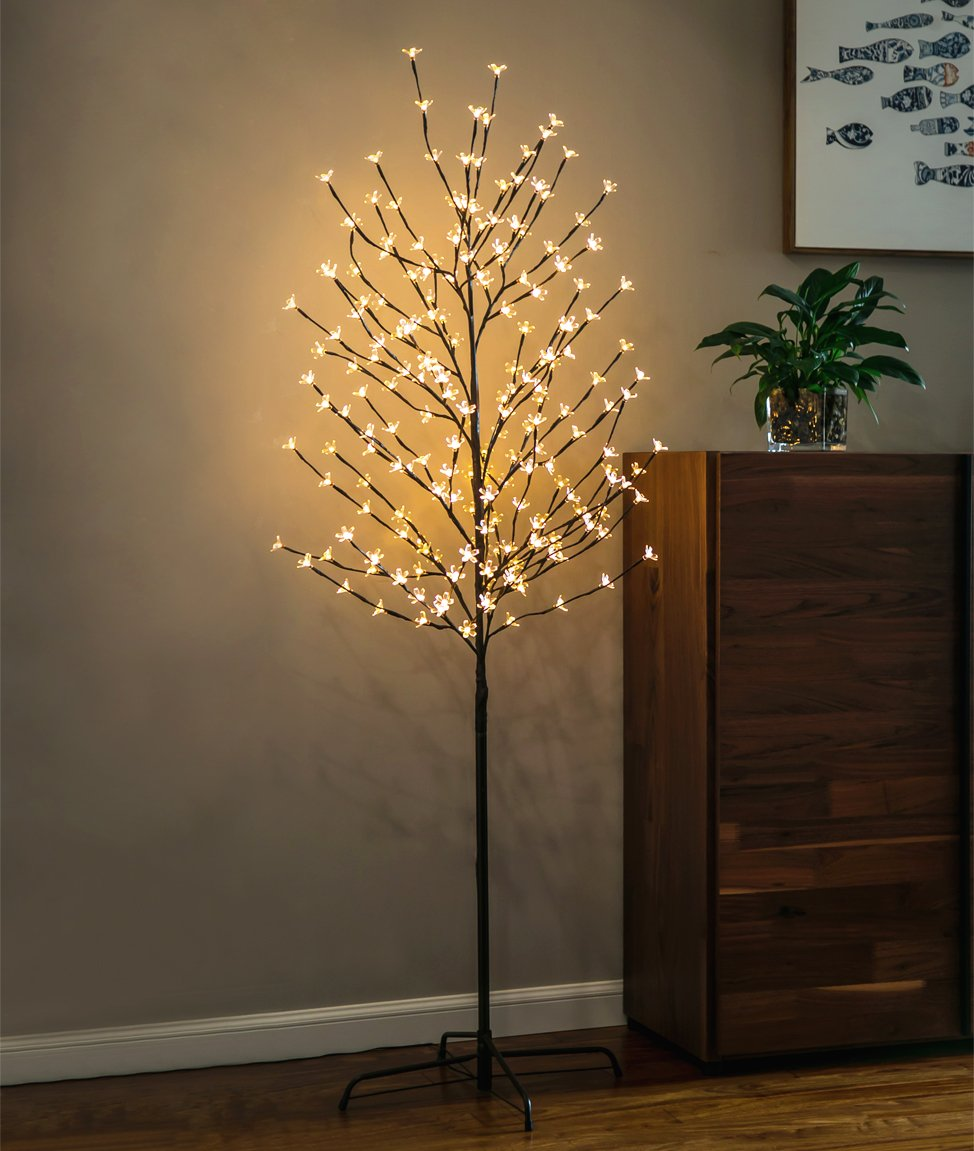 Twinkle Star 6 Feet Cherry Blossom Tree Light Perfect for Home Festival Party Wedding Indoor Outdoor Decoration,Warm White