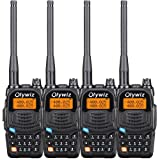Olywiz UV6S Two Way Radio Long Range Walkie Talkie 136-174MHz/406-470MHz 5W 128 Channels Dual Band LCD Built-in Flashlight 4 PACK