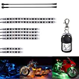 Motorcycle Water-Proof 96 LED Light Strips Multi-Color Accent Glow Lights With Remote Controller (Pack of 8) and 60cm Ultra Cable (Color: 8 strips led)