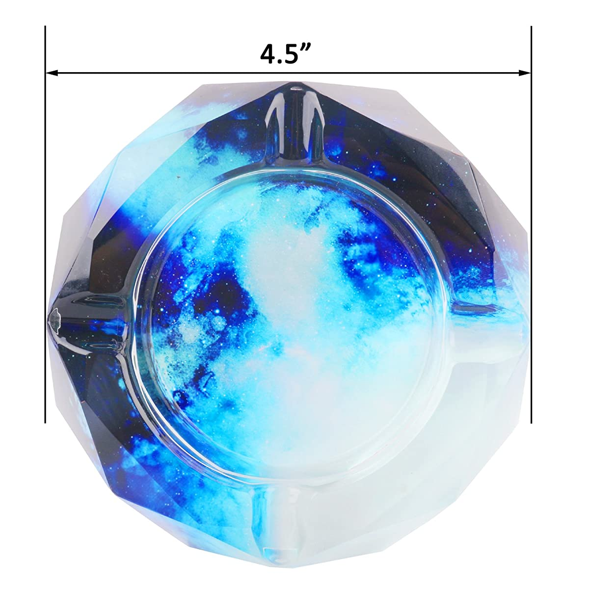 Kufox Crystal Outdoors Indoors Cigarette Ashtray Ash Holder Case, Colorful Pattern Home Office Tabletop Beautiful Decoration Craft (Blue SKY)