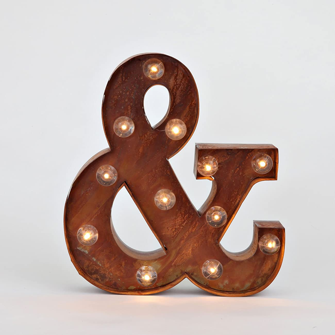 Vintage Lighted Ampersand Symbol Battery Marquee Light with 12 Warm White LEDs, Rustic Metal, Timer Option Available 4