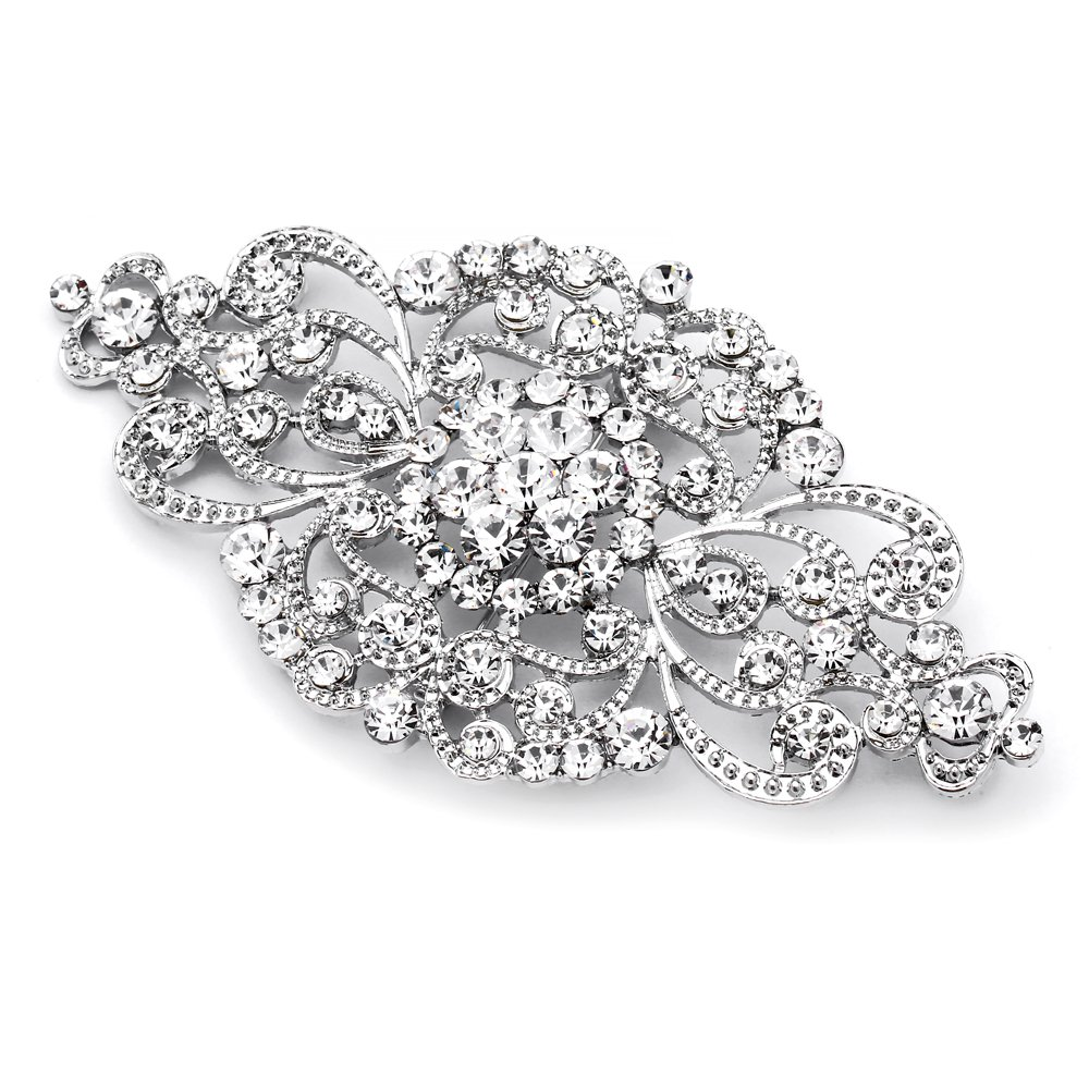 Mariell Vintage Bridal Crystal Brooch Pin - Top Selling Antique Silver Rhinestone Wedding & Fashion Glam 0