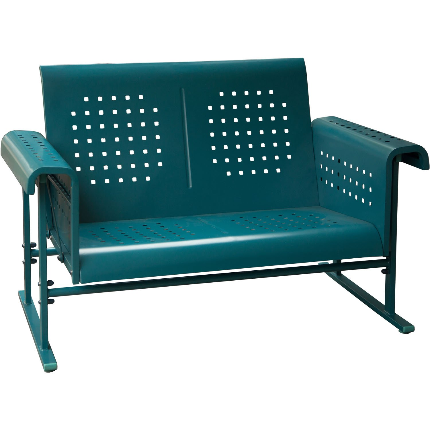 Hanover Retro Outdoor Glide-Action Steel Loveseat