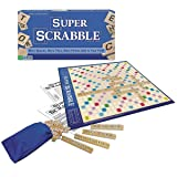 Super Scrabble - The Super-Sized Version of the Greatest Word Game of All Time - 2 to 4 Players - Ages 8 and Up (Color: Multicolor, Tamaño: None)