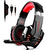 DIZA100 Kotion Each G9000 Gaming Headset Headphone 3.5mm Stereo Jack with Mic LED Light for Xbox One S/Xbox one/PS4/Tablet/Laptop/Cell Phone-Black&Red (Color: Black&Red)