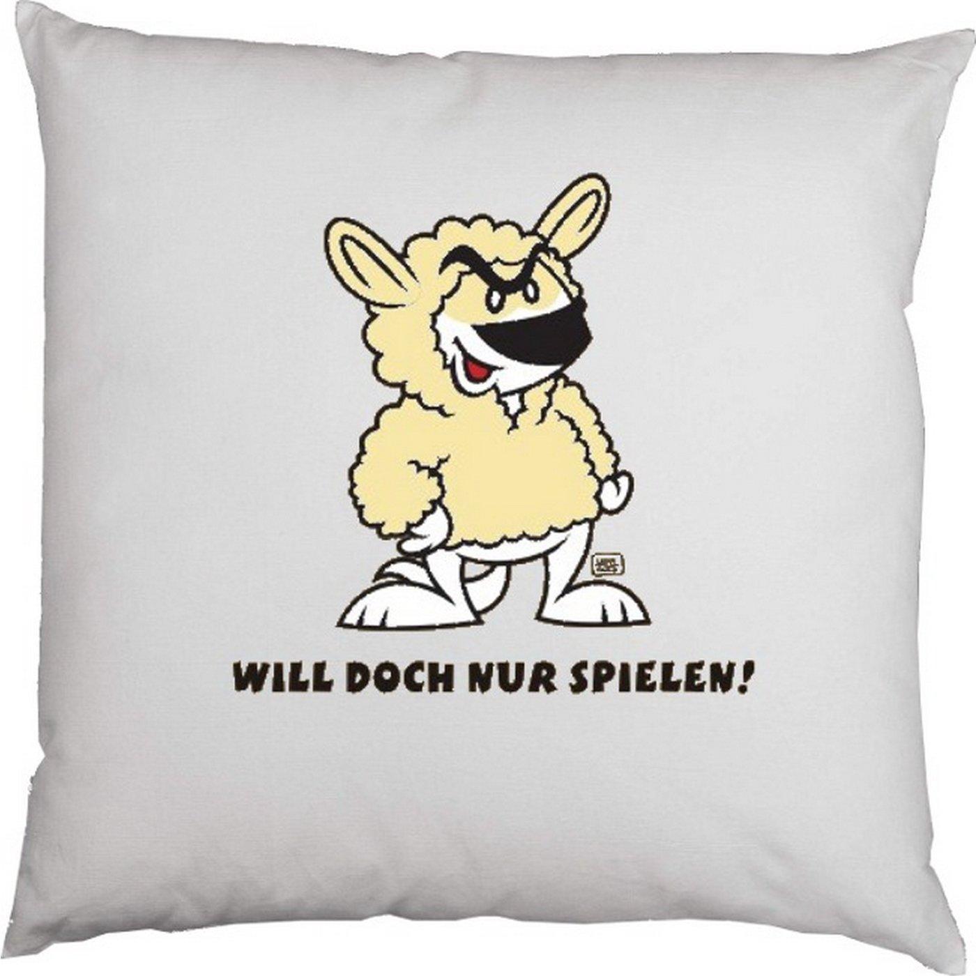 Kissen mit Innenkissen – Hundefreunde – Will doch nur spielen! – mit 40 x 40 cm – in weiss : ) günstig online kaufen