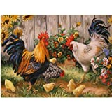 Moohue 14CT Counted Cross Stitch Kits Cute Chickens Cross Stitch Pattern DMC Cotton Thread NeedleCraft Kits (Cute Chickens) (Color: Cute chickens)