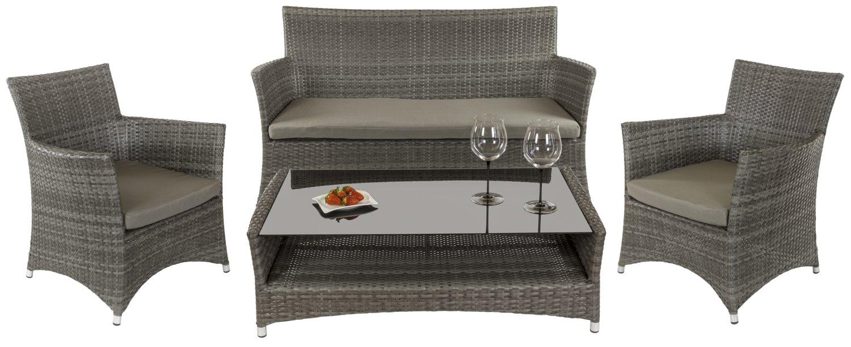 Lounge Gruppe 'Valencia' - Sofa mit Glastisch und 2 Sessel, Robustes Polyrattan, Alurahmen, passende Polsterung