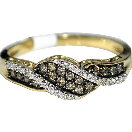 Cognac-White-Diamond-Band-0-21ct-10k-Yellow-Gold-Brown-Anniversary-Ring