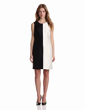 Pink Tartan Women's Color Block 60's Dress, Black/White, 0