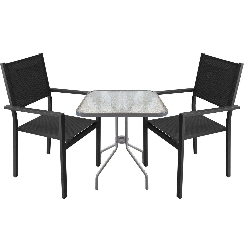 3tlg. Bistrogarnitur Gartengarnitur Bistrotisch 60x60xH71cm Gartentisch mit Tischglasplatte inkl. schwarzer Aluminium Stapelstuhl mit 4x4 Textilenbespannung Sitzgruppe Campingmöbel Gartenmöbel Set