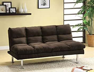 Microfiber Futon Sofa in Dark Brown by Furniture of America