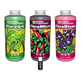 General Hydroponics FloraGro, FloraBloom, FloraMicro Combo Fertilizer set + 1oz Rapidstart (Quarts)