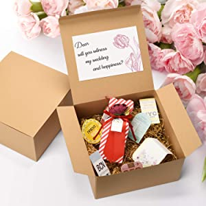 GSSUSA Bridesmaid Proposal Boxes 12Pack 8x8x4 Brown Kraft Gift Boxes with Lids for Gifts, Crafting, Cupcake Boxes (Color: Brown, Tamaño: 8 x 8 x 4 Inch (Pack of 12))