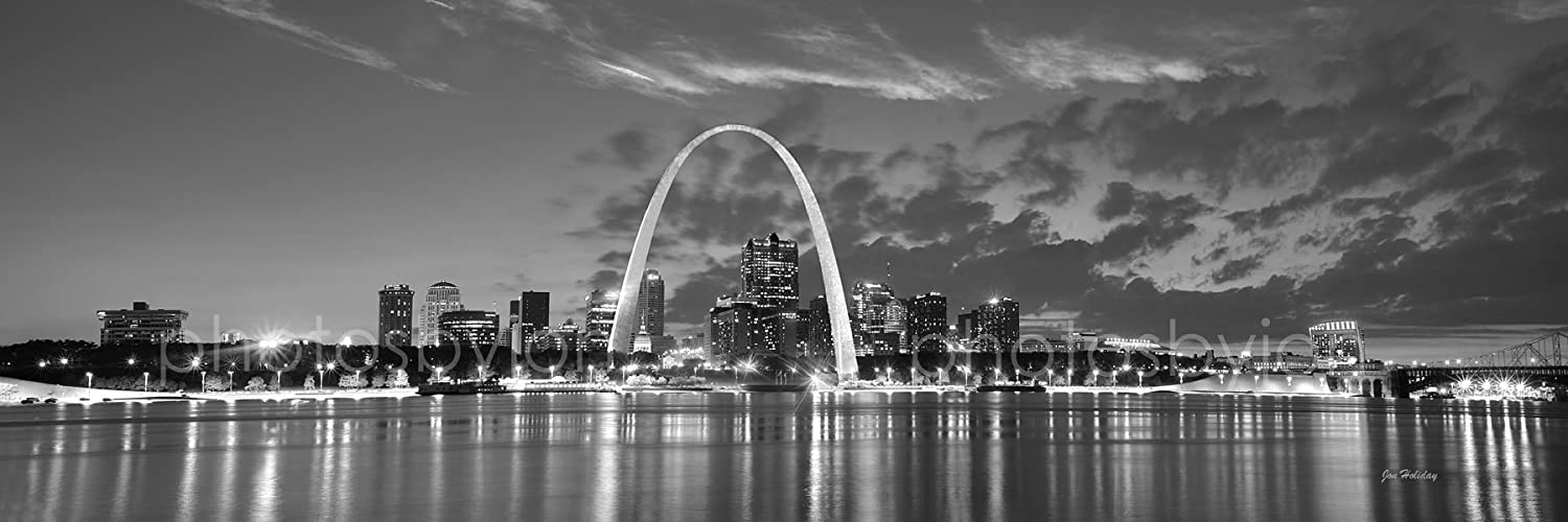 St. Louis Skyline at DUSK Sunset Black & White BW City Downtown 12 inches x 36 inches Gateway Arch Photographic Panorama Poster Print Photo Picture Standard Size grainstack haystack at the sunset near givernyрепродукции моне 45 x 30см