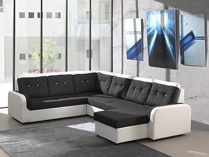 Ecksofa Bond3 mit Bettfunktion Schlaffunktion Wohnlandschaft Couch U-Form 01628 (Ottomane wie abgebildet, Farbe wie abgebildet)