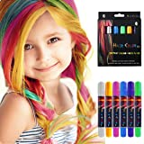 Hair Chalk Pens for Girls Kids, Temporary Hair Color Chalk Washable,6 Colourful Hair Dye Safe for Children - Good Choice for Party Birthday Christmas New Year Gift for Girls Kids (Color: Hair Chalk(6 color))