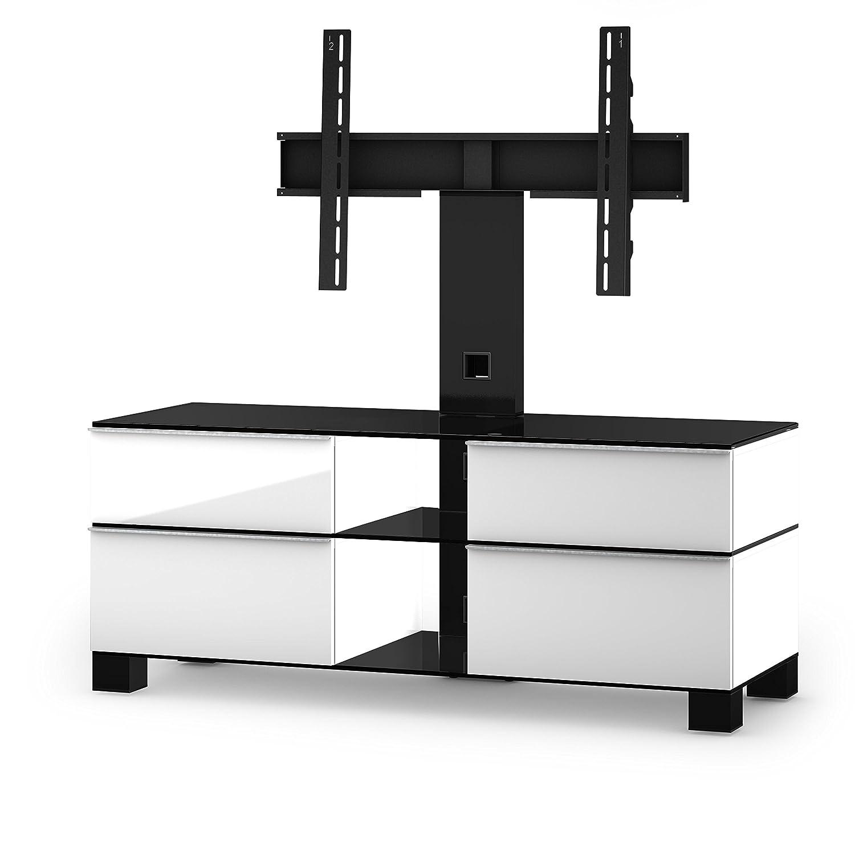 Sonorous MD 8220-B-HBLK-WHT Fernseher-Möbel mit Schwarzglas (Aluminium Hochglanz, Korpus Hochglanzdekor) weiß/schwarz