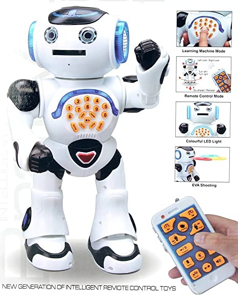 Top Race Remote Control Walking Talking Toy Robot, Dances, Sings, Reads Stories, Math Quiz, Shooting Disques et Voice Mimicking (Tr-P2)