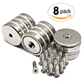 8 Count Value Pack CMS Magnetics Neodymium Cup Magnets with 88 LBS Pull Capacity Each - Dia 1.26