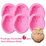 Lot of 6 Pcs Large 3D Silicone Owl Soap Mold Molds DIY Handmade (for soap, Cake, Chocolate, Ornament Making) 3.25