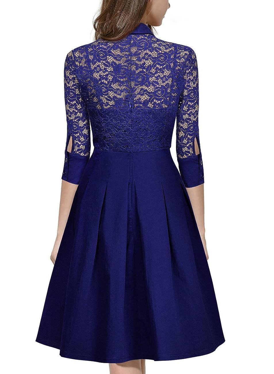 Missmay Women's Vintage 1950s Style 3/4 Sleeve Black Lace Flare A-line Dress 1