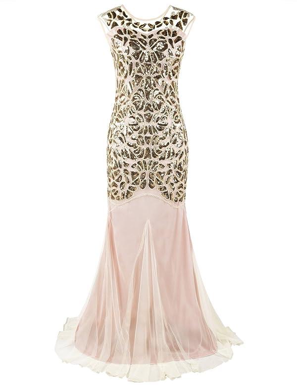 d40c2691c5 PrettyGuide Women s 1920s Art Deco Flapper Formal Gowns Cocktail Evening  Dress M Gold Beige