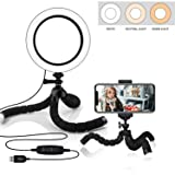 6.3-inch Selfie Ring Light with Flexible Tripod Stand & Cell Phone Holder, Dimmable Mini LED Camera Light for Video Makeup with 3 Light Modes - White,