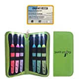 Lighted Crochet Hooks and Case with Replacement Batteries - LED Lite Hooks - Ergonomic Soft Grip Handles & Organizer. Color Coded Set of 6 Hooks for Arthritic Hands - Size 4mm to 6,5mm(Green) (Color: GREEN)